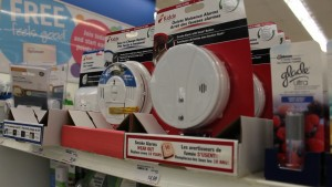 Pictured is carbon monoxide alarms for regular price at Shoppers Drug Mart on the corner of Banwell and Tecumseh Sunday, April 12, 2015. It will become mandatory for homeowners with fuel-burning appliances to have a working CO alarm in their house by Wednesday. The alarms range from $30-$60. Photo by Mandy Matthews