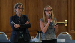 Dr. Lisa Porter, right, and Dr. Caroline Hamm present their study's findings during a Seeds4Hope seminar at the Giovanni Caboto Club Oct. 28. (Photo by Taylor Busch)