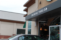 Car smashes through Starbucks window