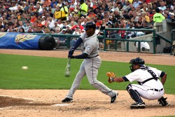 Seattle Mariners Ken Griffey Jr. swings at a pitch against the Detroit Tigers on July 21, 2009 at Comerica Park. (Photo by Todd Shearon)