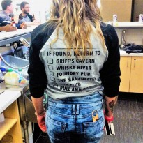 Amanda Serediuk wearing a Grub Crawl shirt. (Photo by Kyle Rose)