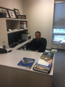 Peter Savoni sits in his office inside the Odette School of Business. (Photo by Christina Chibani)