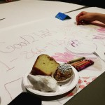Students draw at the LGBTQ and mental health themed Open Mic event at Vanier Hall on Feb 17, 2017.