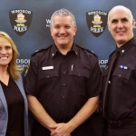 Melanie Kish-Lewis, Superintendent Ted Hickey and Police Chief Al Frederick at Windsor Police Headquarters. (Photo by Alyssa Leonard)