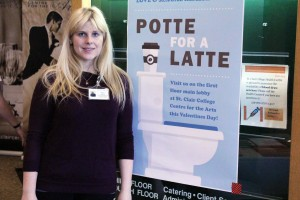 Jessica Wilson promoting the Potte for a Latte campaign booth at St. Clair College Centre for the Arts on Feb. 14, 2017 in Windsor, Ont. (PHOTO BY/AMOS JOHNSON).