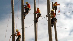 Students of the powerline technician program at St. Clair College Thames campus climb poles at the pole field. (Photo by Michelle Laramie)