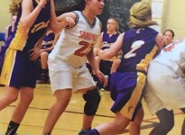 (Mackenzie Price (22) playing basketball for Sandwich Secondary School Photo courtesy of Tiffany Faubert)