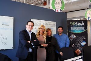 WEtech at their new office at the EPI Centre at the University of Windsor. (Left to right) Irek Kusmierczyk, Yvonne Pilon, Cathy Mombourquette and John-Marc Vachon. (Photo by MD NURUZZAMAN)