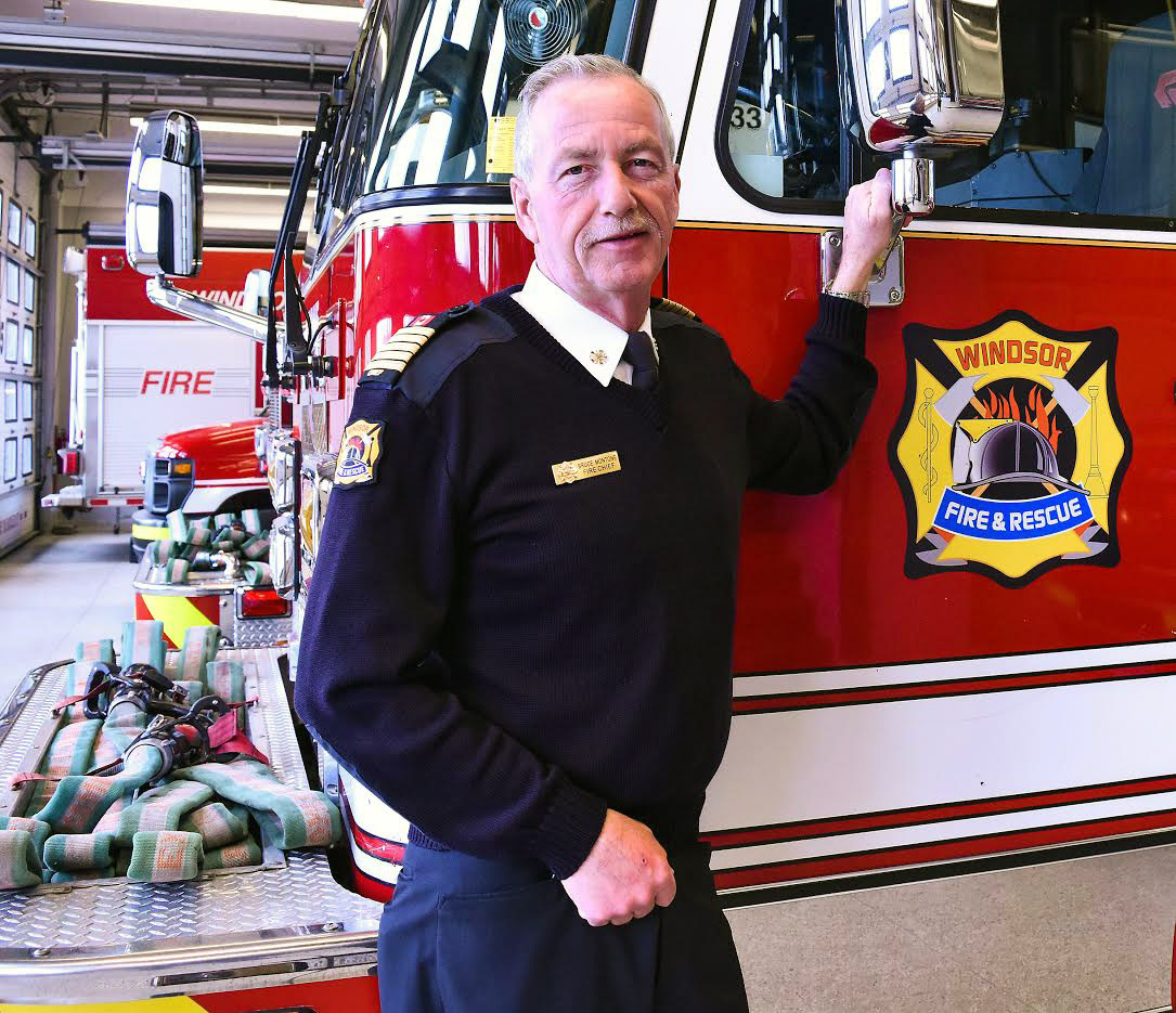 Windsor's Fire Chief Bruce Montone at Fire Station 1 on Goyeau Street. (Photo by Alyssa Leonard)