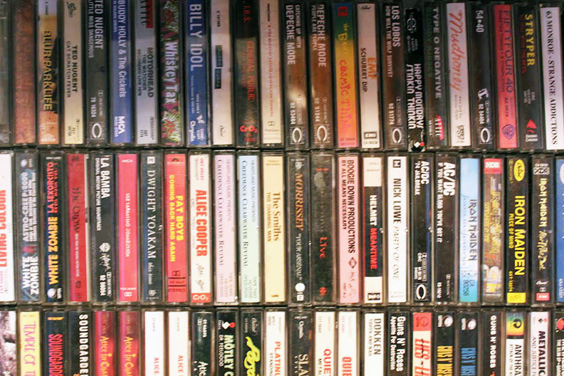Collection of cassette tapes owned by Dane Amlin on display at his house in Windsor. (Photo by Joe Gibel)