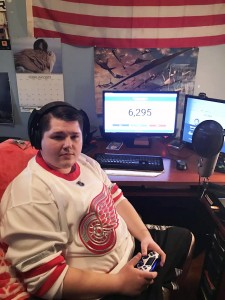 Jesse Garant in his NHL gaming studio. (Photo By Kylie Turner)