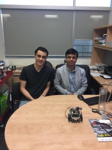 Joshua Jaekel (left) and Dr. Jalal Ahamed sits in office at the University of Windsor. (Photo by Christina Chibani).