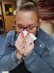 Diane Weaver blows her nose at the ABC Day Nursery on Thursday, April 20, 2017.