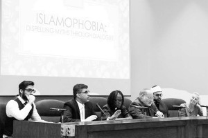 (Right to left) Julie MacFarlane, Imam Youseb Wahb, Rabbi Jeffrey Ableser, Rev. Sadekie Lyttle-Forbes and Dr. Maher Al-Masri speak about Islamaphobia at an event held at the University of Windsor faculty of law. Photo by Maryam Farag