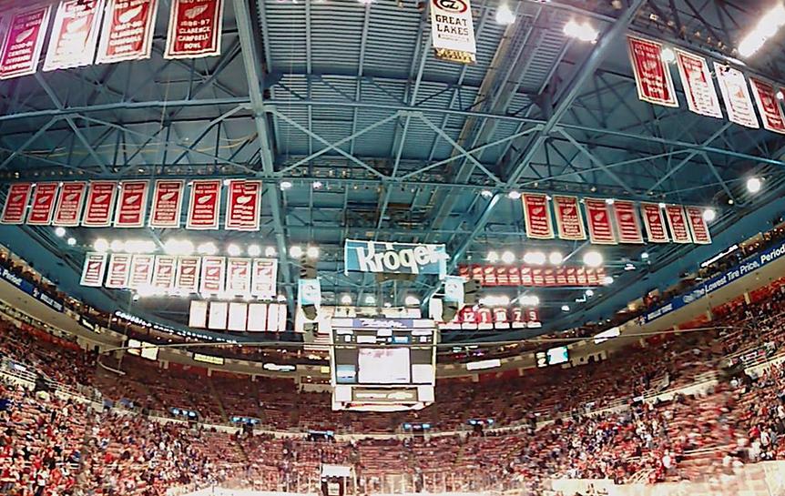 The accolades that hang at Joe Louis Arena. (Photo by Noah Gecelovsky