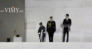 Prime Minister Justin Trudeau addresses a crowd of about 25,000 at the Canadian National Vimy Memorial marking the 100th anniversary of the Battle of Vimy Ridge in Vimy France on Sunday, April 9, 2017. Of the 100,000 men who came together to fight for the first time as a Canadian Corps of four divisions more than 10,500 where wounded or killed in the four days of battle.