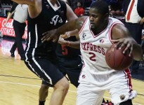 WINDSOR, ON -- Windsor Express Center DeAndre Thomas (#2) drives to the basket against the Orangeville A's at the WFCU Centre [Photo and cutline by Jeremy James Fokuoh]