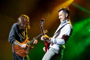 Nick Hexum and Tim Mahoney perform during 311 concert at DTE Music Theatre in Clarkson, Mich. on July 9, 2015. (Photo by Todd Shearon)