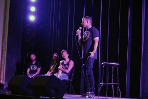 Mike Brown speaks on stage at the Truth About Addiction event that took place at the Olde Walkerville Theatre on Wyandotte Street East in Windsor. (Photo by Cade Ryan)
