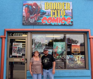 Pat and Ken Girard outside of their Windsor comic book store, Border City Comics (Photo by: Kacie Cooper)