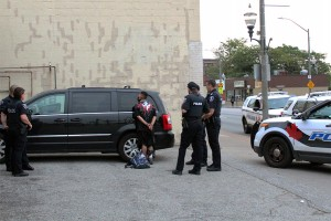Windsor Police shown arresting one of two assailants involved in attempted mugging (Photo by: Kacie Cooper)