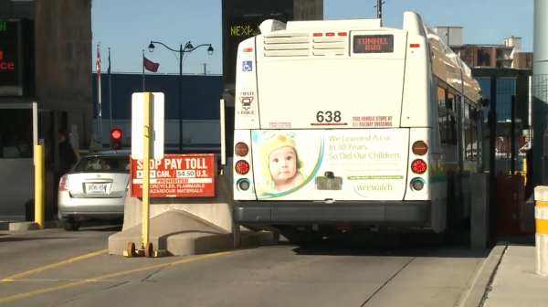 Windsor Public Transit's tunnel bus crossing the Detroit-Windsor Tunnel into Detroit on Oct. 20 before it's closure at 8 p.m. (Photo by Shubhangana Vishwanathan)