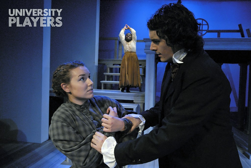 Lauren Fields (Jane), left, Alicia Plummer (Jane's inner self), centre, Cole Reid (Rochester), right, at the Essex Hall Theatre (Photo By Doug MacLellan).