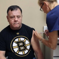 Roger Fielding, 55, gets his flu shot at Windsor Medical Clinic Family Health Centre. Photo by Cassidy McNea.