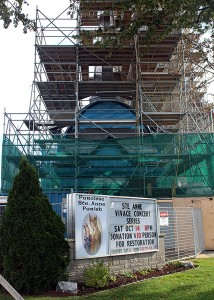 Ste. Anne's Parish in the midst of restoring their steeple on Oct. 15, 2017. Photo by Joyce St. Antoine