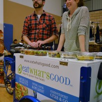 Russell Colebrook and Emily Meko of Eat What's Good, Inc., stand in back of their