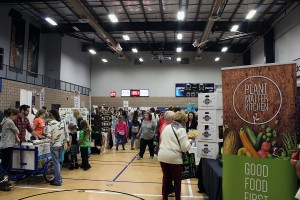 Attendants walk around the WFCU Centre at VegFest on Oct.1. (Photo by Grace Bauer)