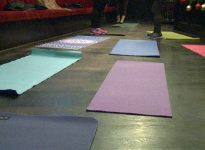 Mats are laid out before a beer yoga class at Spitfire Pub on Dec. 5.