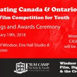 Celebrating Canada & Ontario, a short film competition for youth will be held at University of Windsor, Eerie Hall, Studio A, at 7pm on Jan. 19, 2018