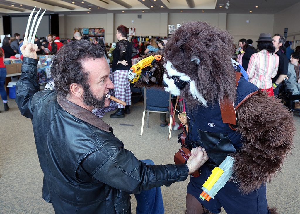 Cosplayers Ben Grondin, (Wolverine), and George Desrosiers, (Rocket Raccoon), having fun at Action Windsor.