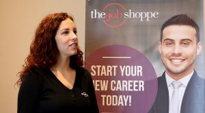 Ashley Sarros, Director of Marketing at the Job Shoppe, telling about the hiring event.